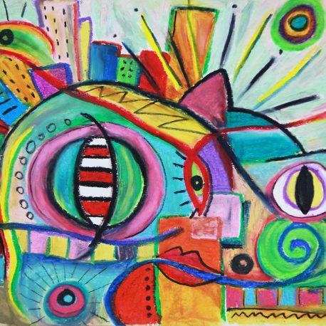 cat eyes under city lights – 9×12